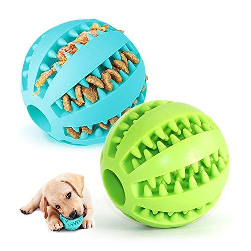 2 Hundespielzeug Ball,Naturgummi mit Minzgeschmack Hund Feeder Ball,Trainingszahn Intelligenzspielzeug für Hunde Ball mit Zahnreinigung Spielzeug (Grün & Blau)
