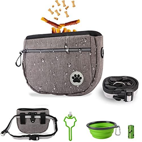 CCDSR- Hundetasche für leckerlis, Wasserdicht Hunde Futterbeutel mit Kotbeutel Spender,für Hunde zur Hundetraining und Futteraufbewahrung(grau)