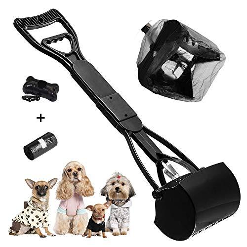 XCOZU Pooper Scooper 60cm Hundekotschaufel mit Müllsäcke, Faltbare Kotschaufel mit langem Griff für Hunde und Katzen Geeignet für Rasen im Freien