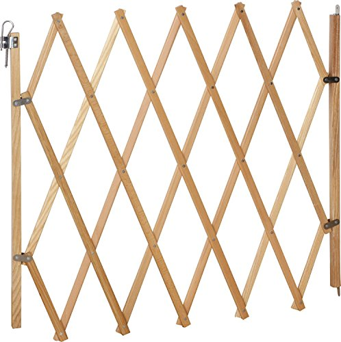 IB-Style® LIN Absperrgitter für Hunde   Ziehharmonika  Holz   Natur   60-108 cm
