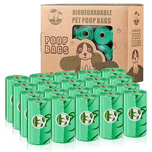 Cycluck Biologisch abbaubare 300 Beutel Hundekotbeutel aus Maisstärke Mischung mit DIN CERTCO Zertifizierungen 100% Auslaufsicher und Reißfest (300 Stück, Grün)