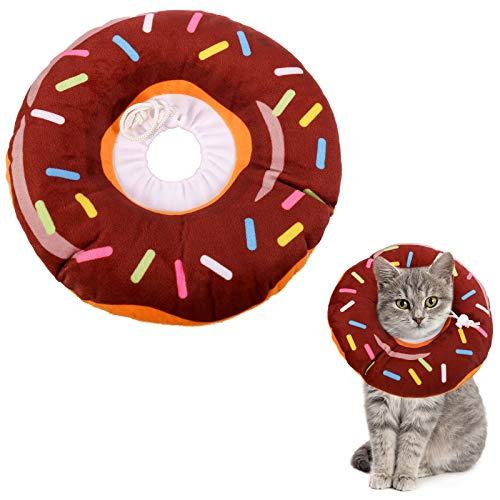Xinzistar Halskrause Katzen Halsband Soft Weich Katze Schutzkragen Anti Biss Safety Einstellbarer Schützender Kragen für Haustiere Katzen Hunde Welpen Kätzchen (Braun Donut, M)