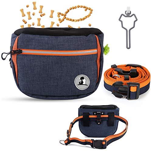 Xionghonglong Futterbeutel für Hunde,Hunde Leckerlie Tasche,Wasserdicht Futtertasche,Leckerlibeutel für Hunde,Hunde Futtertasche Beutel,für Hunde zur Hundetraining und Futteraufbewahrung (Blau)