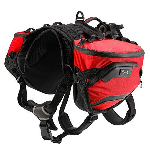PETTOM Sattletasche für Hunde, Hundegeschirr mit Taschen, Hunderucksack Reisen Camping Wandern, Hundesatteltaschen für Kleine Mittle und Große Hunde (M, Rot)