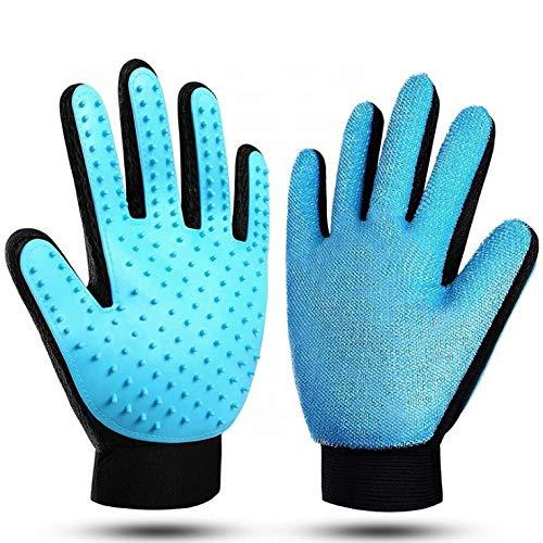 Premium Magic Brush Fellpflege-Handschuh für Hund, Katze und Pferd I Tierhaarentferner praktische Fellwechsel Zubehör Bürste zum Entfernen für Kurze und Lange Tier-Haare (Hellblau, Rechts)