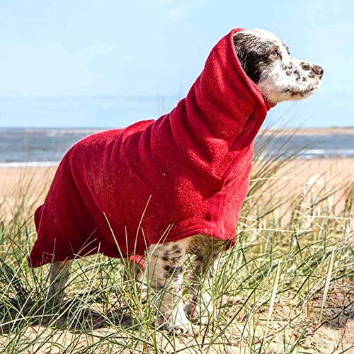 M.Q.L. Badetuch Hunde Bademantel, Hundebademantel aus Mikrofaser, Super absorbierend Handtuch, verstellbares Magic-Tape-Design in Hals und Taille – Rückenlänge 45 cm für mittelgroße Hunde