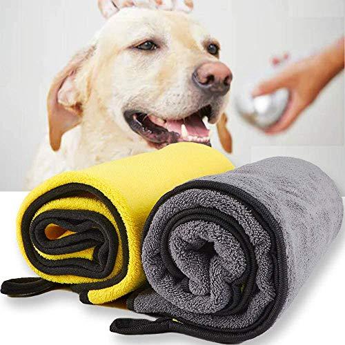 Dhohoo Hundehandtuch, Ultra saugfähige Hund trocknende Handtuch für Hund Bad, 100×55CM große Haustier Handtuch für alle Hunde Katzen, weich & langlebig Mikrofaser Handtücher (2 Pack)