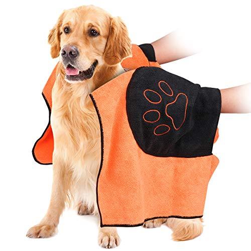 Hundehandtuch, Mikrofaser Hundebademantel Handtuch für große und mittlere Hunde, Katzen, Haustier Badetuch mit Hand Taschen, Ultra-saugfähig, Langlebiges, Doppelte Dichte, Maschinenwaschbar