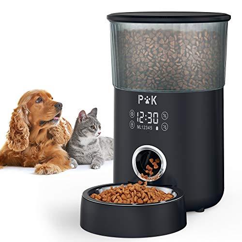 PUPPY KITTY Touchscreen Automatische Futterautomat für Katze und Hund, 4L Timer Futterspender, mit Benutzerdefinierter Abgabeton, Portionskontrolle, 1-5 Mahlzeiten, Edelstahlschale. (schwarz)