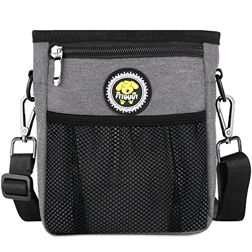 Fttouuy Futterbeutel Hunde wasserdicht Futtertasche für Hundetraining, perfekte Hunde Leckerlie Tasche für Agility-Training – inklusive Karabiner (Grau)