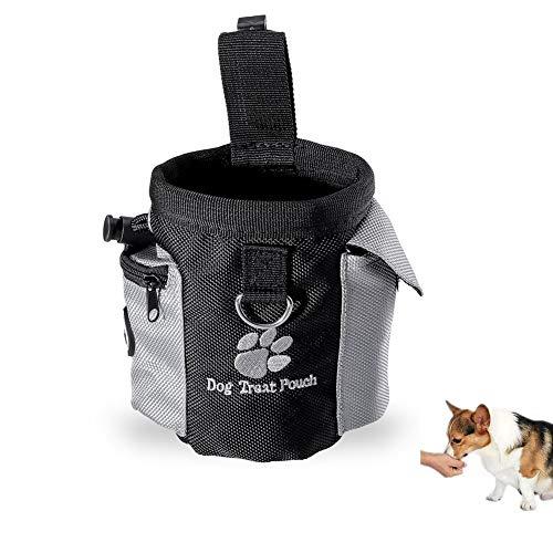 Kuiji Futterbeutel für Hunde - Leckerlitasche Dog Snack Bag mit Clip - Futtertasche für Hundetraining und Ausbildung - Wasserfest und Abwaschbar - Schwarz