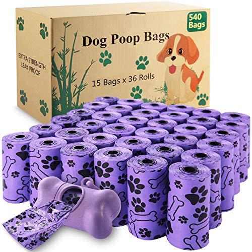 McNory Hundekotbeutel-36 Rollen (540 Tüten) 1 Spender, Kotbeutel Biologisch aus Maisstärkebiologisch,tropfsichere Hundetüten,Dog Poo Bags,Lila