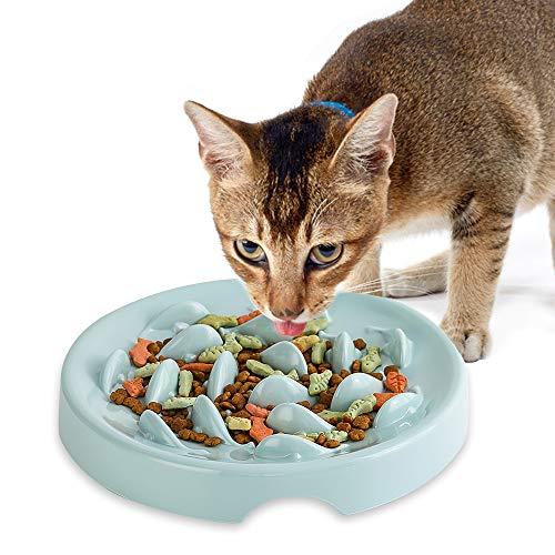 Anti-Schling-Napf für Hunde und Katzen, Langsam Fütterung Hundenapf Katzennapf,Langsam Fressen Schüssel,Interaktiver Slow Feeder Futternapf,aus Melamin,Reduziert Verschlucken und Überessen,Grün