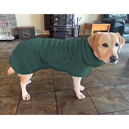 LOMYLM Saugfähiger Hunde-Bademantel, Handtuch, weiche Mikrofaser, schnell trocknend, Mantel mit verstellbarem Riemen, Haustierdusche, Badezubehör, M (47 cm Rücken), grün