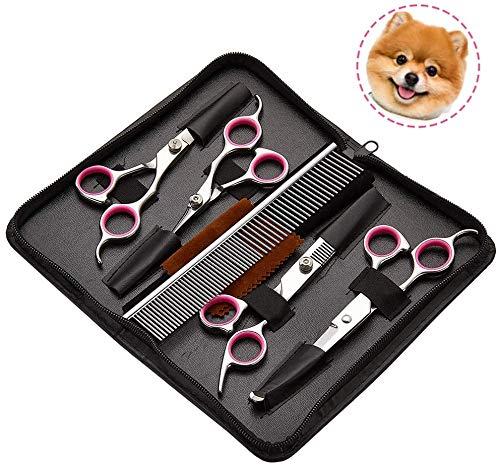 AIXMEET Hunde Fellschere, 5er-Set Professionelle Stainless Steel Hundescheren Set mit Effilierschere zur Fellpflege für alle Hunde Katze Schneiden und Grooming