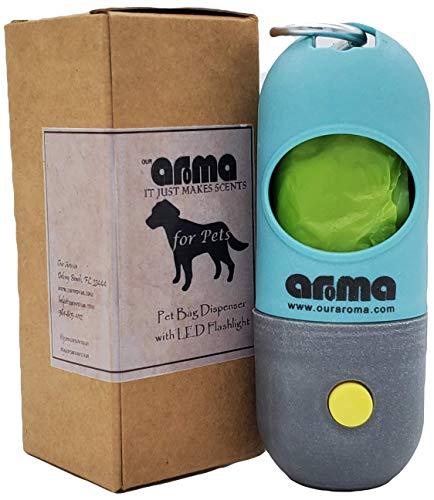 Aroma 3-in-1 Hundebeutelspender für Leine – integrierte 150 lm LED-Taschenlampe – Schlüsselanhänger – Beutelspender (1)